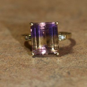 11 Carat Ametrine Ring w/Diamond Accents in gold